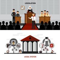 Gesetzgebung Gesetz 2 Flache Banner Zusammensetzung