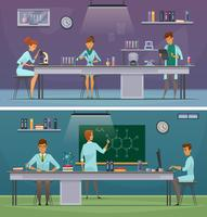 Banners de dibujos animados retro de científicos en el trabajo vector