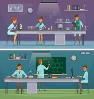 Wissenschaftler bei der Arbeit Retro Cartoon Banner