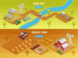 Farm Isometric Horizontal Banners  vector