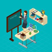 Teacher At School Isometric Composition banner vector