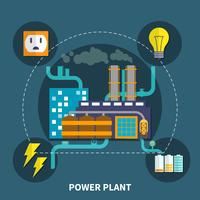 Power plant design vector illustration