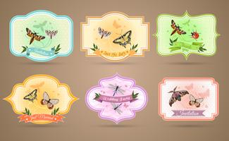 Insects Emblems Set  vector