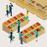 Familie winkelen illustratie
