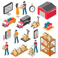 Logistiek en levering Isometrische Icons Set