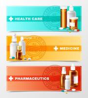 Medicines Banners Set vector