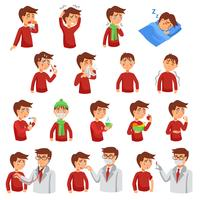 Flu iIlness Icon Set vector