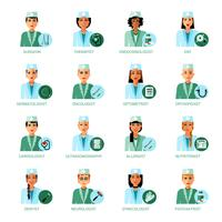 Ensemble d'avatars de professions médicales