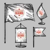 Ensemble de drapeaux logo esquisse