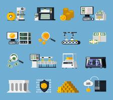 Money Manufacturing Icons Set