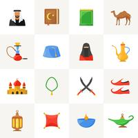 Arabic culture icons set