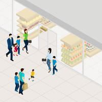 Ilustração isométrica de supermercado