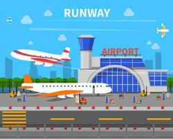 Ilustración de pista de aeropuerto vector