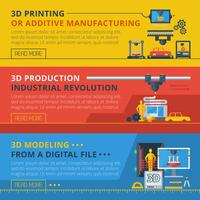 Set di banner orizzontali orizzontali di stampa 3D