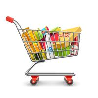 Shopping Supermarket Cart With Grocery Pictogram