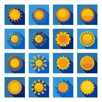 Iconos planos de sol en cuadrados azules aislados