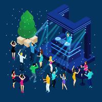 Pessoas que comemoram a ilustração de ano novo