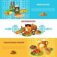 Ensemble de bannières horizontales plates Oktoberfest vecteur