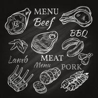Icônes de menu de viande rétro sur tableau