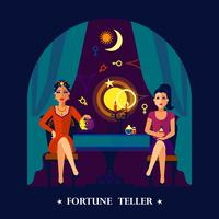 Fortune Teller Cristal Ball Flat Illustration