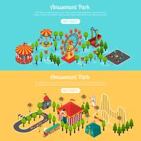 Attraction Park 2 Isometric Banners Set