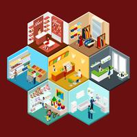 Shopping Mall Hexagonal Pattern Isometric Composition