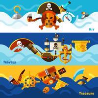 Ensemble de bannières horizontales pirates