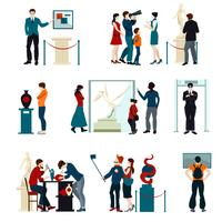 Kleur Icons Set van mensen bezoeken tentoonstelling