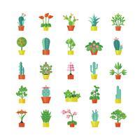 Set d'icônes plats plantes d'intérieur