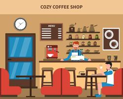 Coffee Shop Bar interior Retro Flat Banner