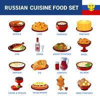 Cocina rusa platos iconos planos colección