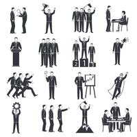 Leadership Black White Icons Set