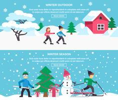 Set di banner piatto stagione invernale 2
