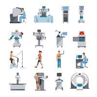 Iconos biónicos con equipos quirúrgicos y de diagnóstico.