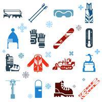 Iconos de esquí plana monocromo con copos de nieve
