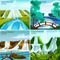Waterfall Landscapes 2x2 Design Concept vector