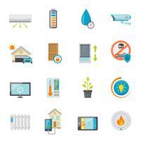 conjunto de ícones plana de casa inteligente