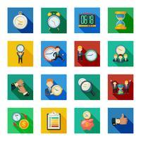 Conjunto de iconos de sombra plana de gestión de tiempo
