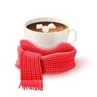 Tazza di cioccolata con stampa sciarpa a maglia