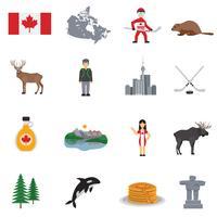 kanada platt ikoner uppsättning