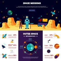 Outer Space Missions Flat Banners-compositie
