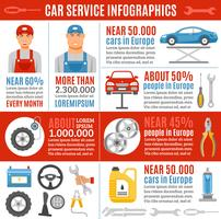 Auto Repair Service Flat Infographic Banner