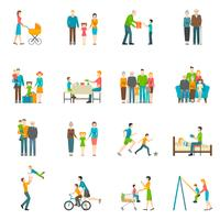 Happy Family Flat Icons vector