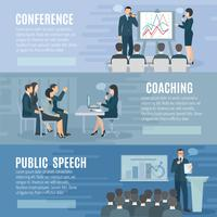 Conjunto de Banners horizontais planos de falar em público