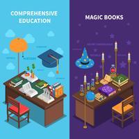 Böcker och utbildning Banners Set