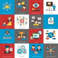 Colección de iconos planos de gestión de recursos humanos