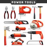 Power Tools Red Black Pictograms Collection