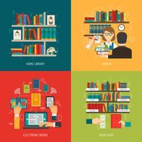 concetto di biblioteca 4 icone piane quadrate