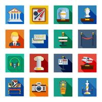 museum flat squared icon set