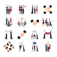 Egale kleur Teamwork Icons Set